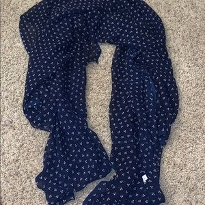 Navy Sheer Floral Patterned Scarf